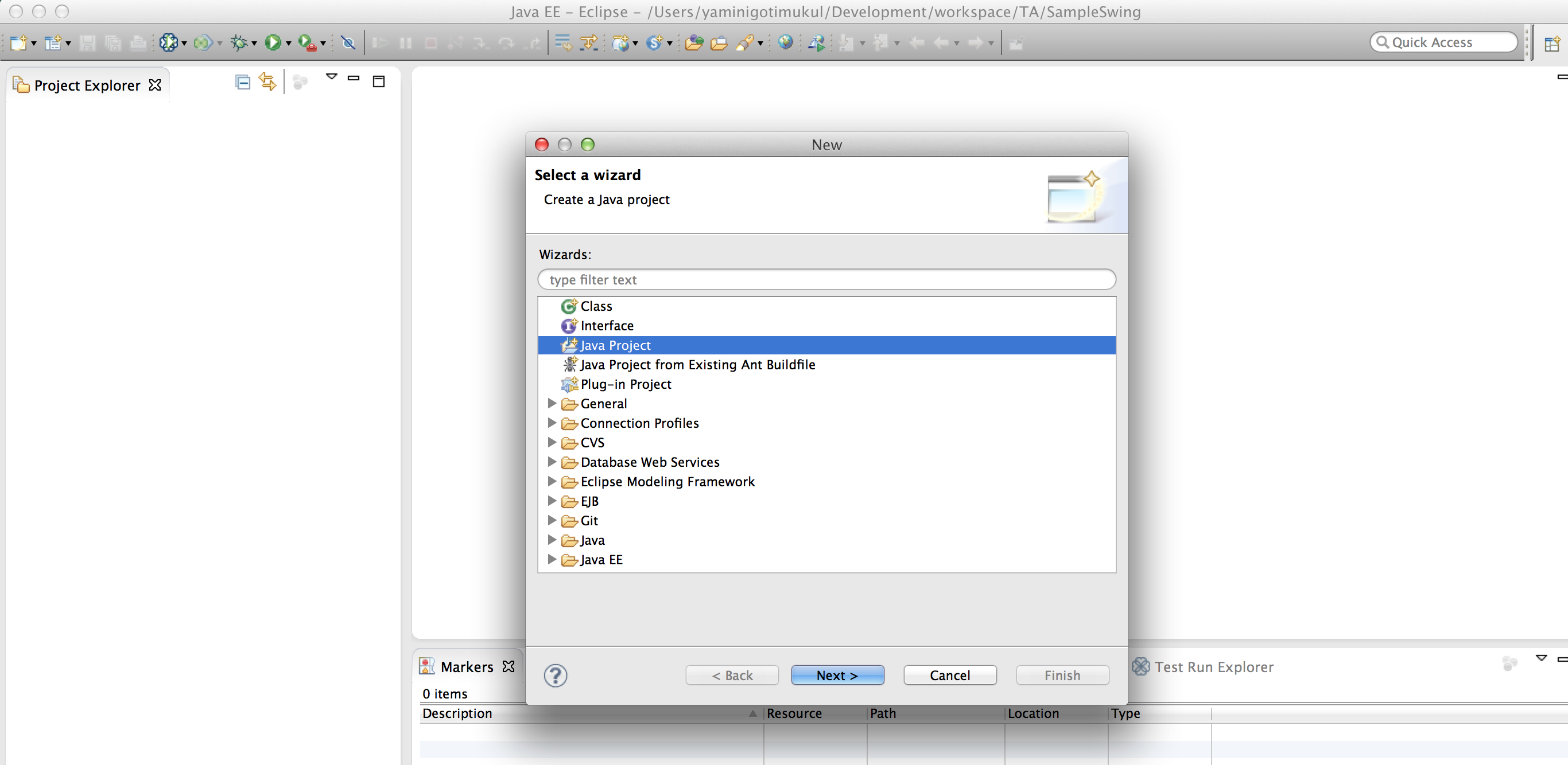 Swing tutorial note steps for new java project creation file menu new other select java project baditri Choice Image