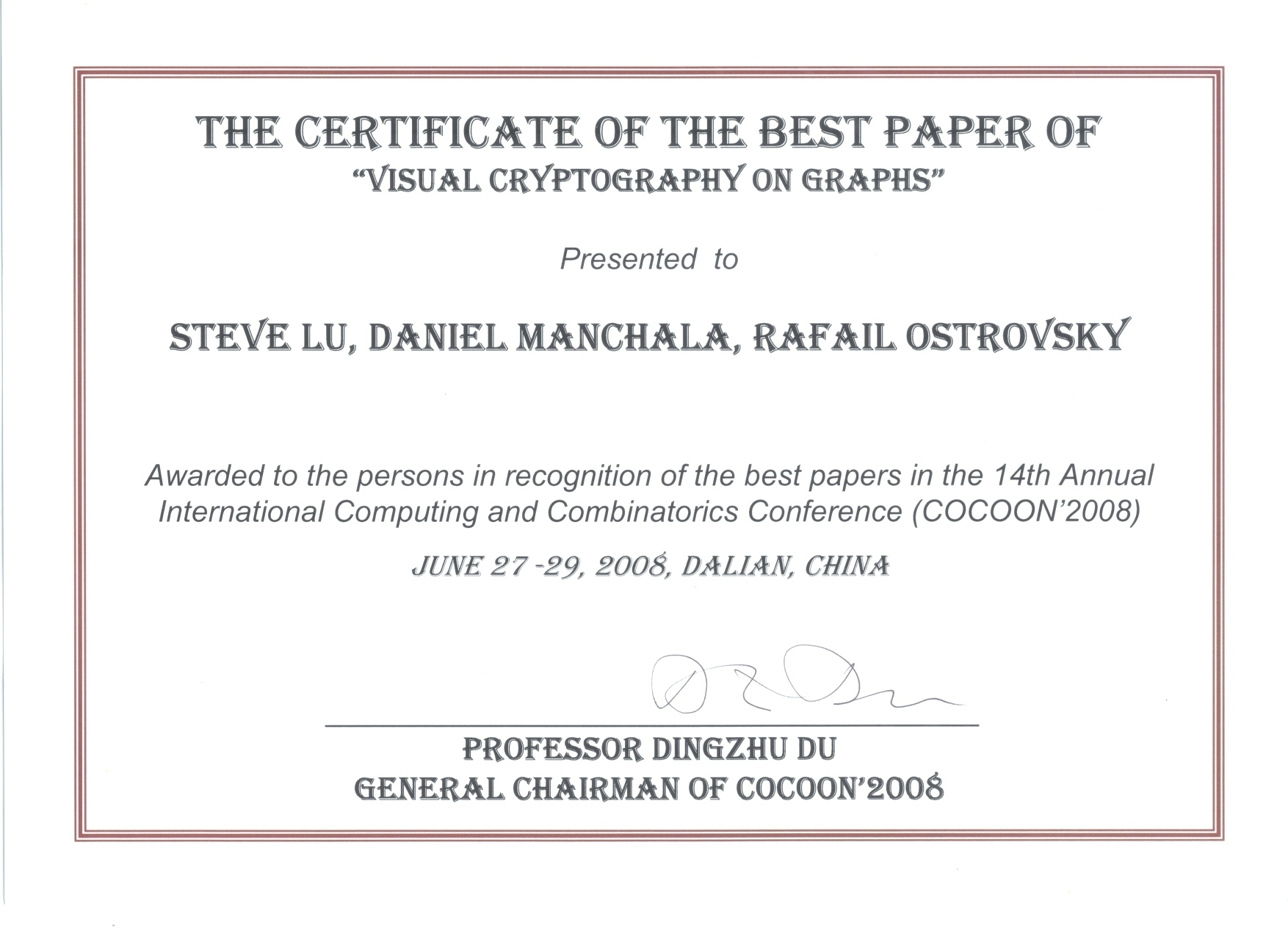 COCCON 2008 BEST PAPER AWARD